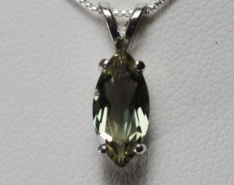 Oregon Sunstone Green Marquise Pendant Necklace in Sterling Silver 1.7 cw #166