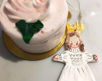 Angel Ornament, Ceramic Girl Angel  Ornament, Gift for Girl ,Unique Christmas ornament
