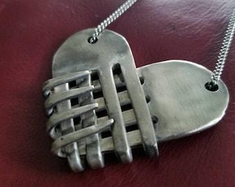 Upcycled Fork Heart Pendant