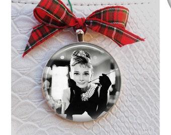 "Breakfast at Tiffany's Christmas Ornament - Audrey Hepburn Ornament Silver setting 2"" across"