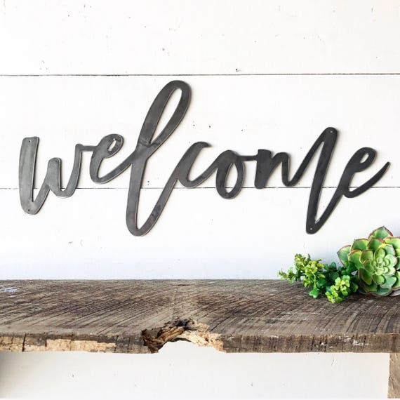 Welcome Metal Sign Metal Wall Art Welcome Sign Metal