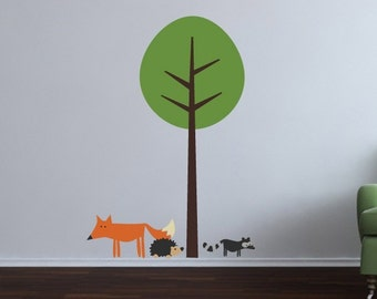 Woodland friends and tree wall decal