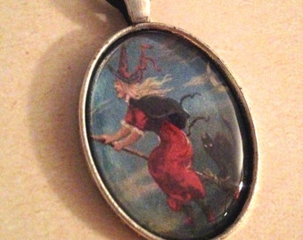 Old Witch Flying Portrait Necklace