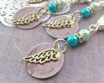 Always in my heart, angel wing keychain, bouquet charm, zipper pull. SET of FIVE.