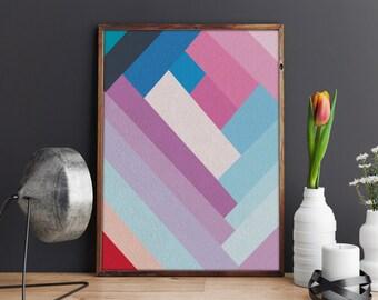 ABSTRACT Art Print, Colourful Print, Abstract Decor, PRINTABLE ART, Wall Art, Minimalist print, Wall Decor, Geometrical art, Geometric art