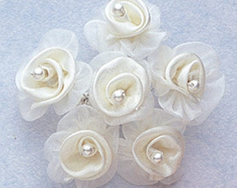 """1 1/4"""" Ivory Satin Organza Flowers with Pearl 15 pieces of flowers"""