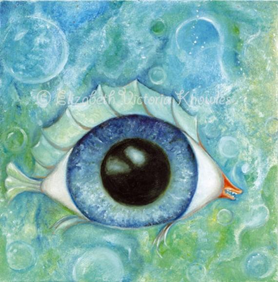 Surreal Eyeball Fish Big Eye Art Print Lowbrow Art Pop  Surreal Eyeball...