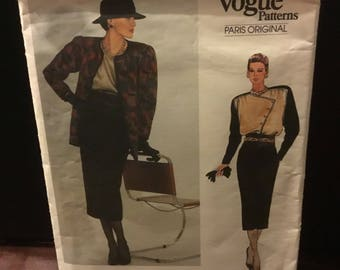 Vogue 1980s Paris original pattern 1468 - size 8 - an Emanuel Ungaro original misses jacket , skirt and blouse