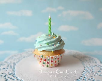 Fake Cupcake Pastel Rainbow Sprinkles Aqua Birthday Photo Prop Kitchen Decor Favor