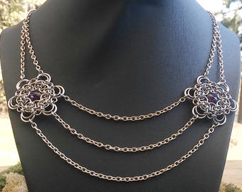 Chainmaille necklace, Purple crystal necklace, Chainmaille jewelry, Chainmaille statement necklace, Crystal jewelry, Valentines day gift