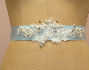 Bridal Sash Headband-  Hand Beaded Custom Alencon Lace Sash or Headband