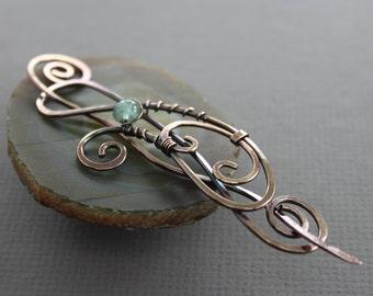 Flowing shawl pin or hair pin with aquamarine stone - Scarf pin - Hair barrette - Hair slide - Fibula - Hair accessory - SP056