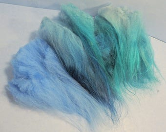 Icelandic Long Wool Locks Spinning Fiber Mixed Teal and Blue 1 oz for Hand Spun Art Yarn