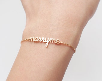 Love Message Jewelry - Custom Name Bracelet - Marry Me Bracelet - Valentines Gift for her - Quality Silver, Gold, Rose Gold Jewelry-#LA03F63