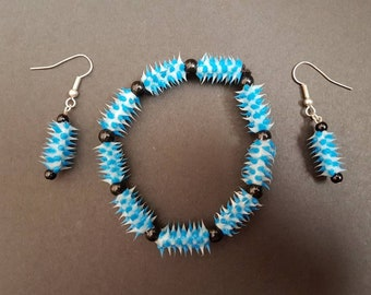Rubber spikey beaded bracelet & matching earrings - alternative/punk/rock/goth