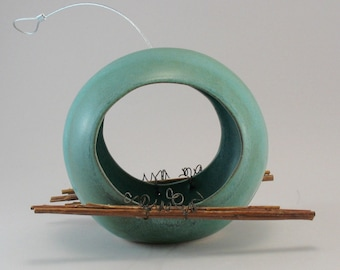 Ceramic Bird Feeder - Pottery Bird Feeder - Teal - Twig Perch