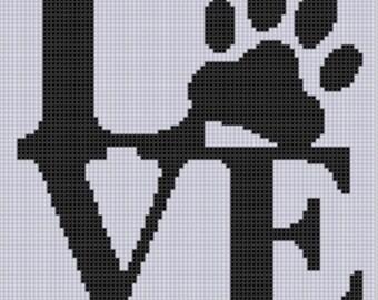 Love Paw Cross Stitch Pattern