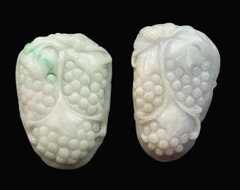 Unique Natural Jadeite Pendant Grape feitsui Amulet Carved Grape Emerald Talisman