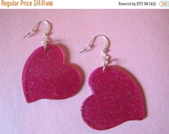 ON SALE Upcycled Fun Floating Glittery Pink Hearts Plastic Earrings on Silver plated Findings jewellery jewelry Valentines Day
