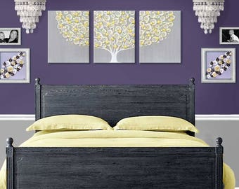 Gray Yellow Wall Art Painting of Tree on Extra Large Canvas Triptych for Bedroom Decor - 62x24