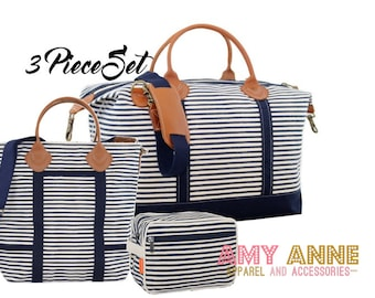 Navy Stripe Monogrammed Travel Luggage Set Canvas Weekender Satchel Duffle Bag Pink or Gray Trim with Leather Handles Luggage