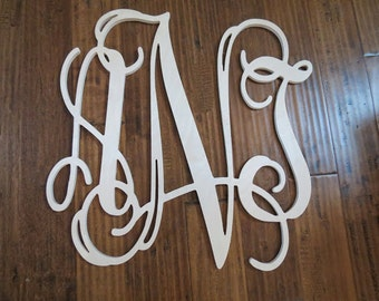 24 inch Vine connected wooden monogram letters- Interlocking wooden letter