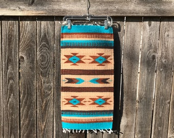 Beautiful 2' Table Runner Handcrafted by Master Zapotec Weaver Israel Ruiz in Oaxaca, Mexico