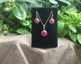 Red Ruby Sterling Silver Pendant with Dangle Earrings, Red Ruby Jewelry, Ruby Necklace, Ruby Earrings, Red Ruby Stone, Silver Set