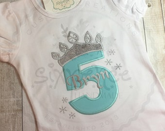 Ice Princess Frozen Birthday | Shirt or Bodysuit | Appliquéd & Embroidered | Silver Glitter | Elsa Birthday Outfit | By Sixpence