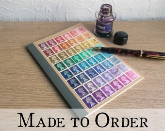 Rainbow A5 Notebook | Lined Kraft A5 Writing Journal writer gift | recycled paper, upcycled British postage stamps | retro hipster lgbt gift