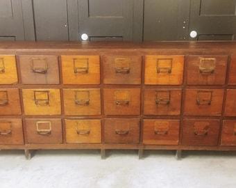 Antique Wood 21 Drawer Storage Cabinet