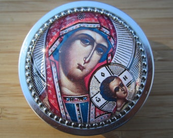 Item # 46 Rosary case Our Lady of Perpetual Help Icon First Communion gift jewelry box Confirmation-first communion boy girl gift