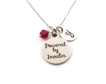 Powered by Insulin Necklace - Diabetic Charm Necklace - Initial Necklace - Personalized Necklace - Sterling Silver Jewelry - Gift for Her