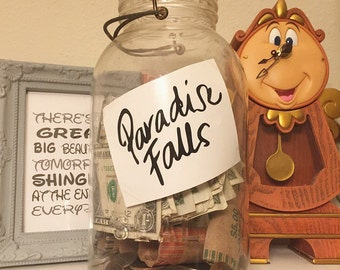 Paradise Falls Coin Jar Label