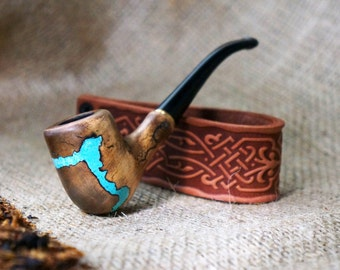 """Mini Smoking pipe""""Lightning """"with Turquoise+ Leather pipe stand- Tobacco pipe -Gift for smokers- Wooden pipe- Tobacco bowl - Groomsmen gift"""