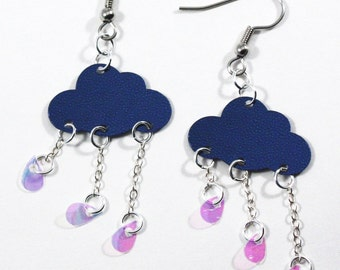 Navy Blue Cloud Earrings Raindrops Falling Stormy Weather Rainy Day Dangles Plastic Sequins