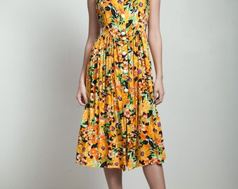 vintage 80s halter sun dress yellow orange floral sunflower print below the knee SMALL S