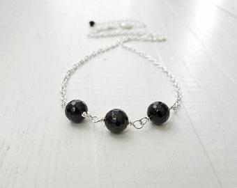 Black onyx necklace minimalist chain necklace black stone necklace onyx stone necklace for women