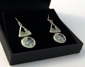 Unique Long Blue Roman Glass Jewelry Round Triangle Sterling Silver Dangle Earrings