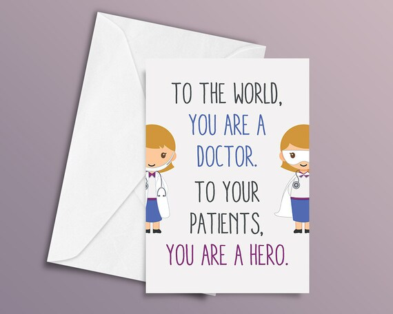 Birthday Quotes For Doctors: Doctor Card Thank You Card Hero Card Male Doctor Female