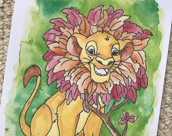 Disney's Simba the Lion from The Lion King Watercolour Painting Print in A5 & A4.