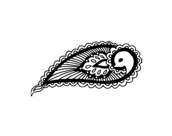 CLEARANCE Mehndi paisley bird rubber stamp