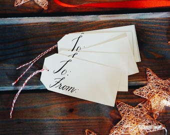 To and From Calligraphy Tags, Gift Tags, Valentines, Wedding, Present, Wrapping, Birthday, Party, Holiday, To From,Hang Tag, Chizels Artistr