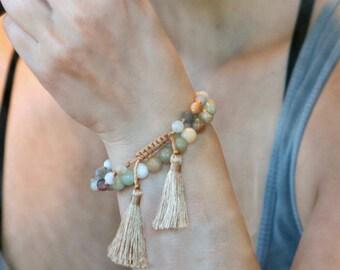 Bracelet en pierre Amazonite, bijoux métaphysique, poli Bracelet en pierre