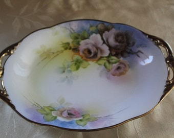 Nippon Hand Painted Porcelain Tray With Handles