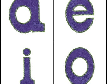 """5"""" lower case Carnival Alphabet 1 applique machine embroidery design set. Instant download now available. Hoop size 5"""" X 6""""."""