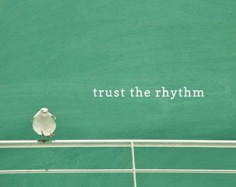 Vertrauen Sie, The Rhythm motivational Poster, Möwe Fotodruck, Typografie Wortkunst, Sommer, Strand Dekor