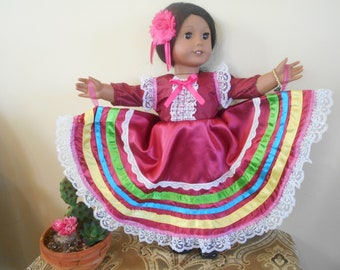 Mexican ballet folklorico doll clothes dress ouytfit fits American Girl and 18 inch doll clothes