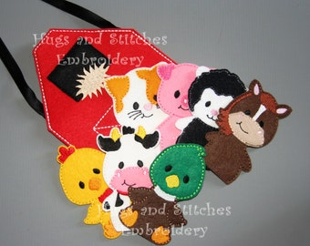 8 Piece Farm Animal Finger Puppets with Barnbag, Busy Bag