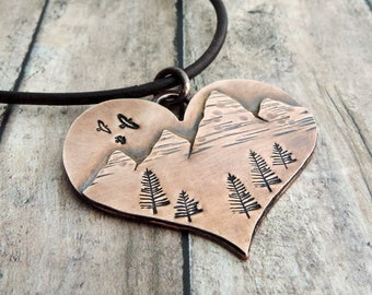 Heart Mountain Necklace - Nature Lover  Gift - Gift for Her - Outdoor Woman - Gift for Hiker - Outdoor Lover - Nature Jewelry